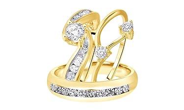 AFFY White Natural Diamond Engagement & Wedding Trio Bridal Ring Set in 10k Solid Gold (1.5 Carat, I-J Color, I2-I3 Clarity)