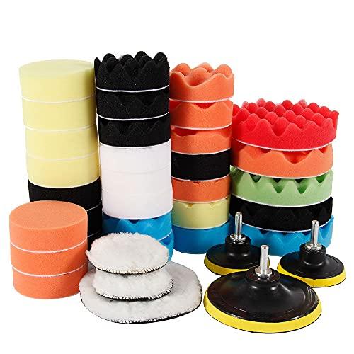 39x Car Polishing Clean Pads 3-5Inch Sponge Buffer Buffing Drill Waxing Wheel Polishing Disc for Car Polisher Drill Adapter,Colorless