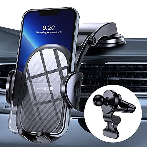 CAFELE Universale Handyhalterung Auto[2021 Rundumschutz],Kfz Handyhalter mit Verbessertem Entlüftungsclip&Nahtlosem Vakuum-Saugnapf,Armaturenbrett Halterung Auto für iP,Samsung,Huawei,Xiaomi ect.