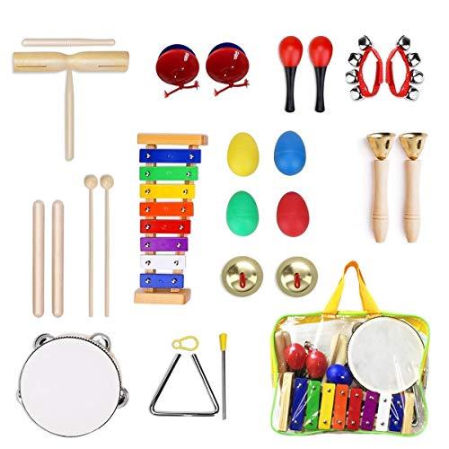Ulifeme Instrumentos Musicales para Infantil, 24pcs Juguetes Músicales de Percusion para Bebes, Xilófono Madera Set de Instrumentos Musicales para Niños Juegos Musical con Una Bolsa de Transpo