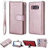 DodoBuy 2in1 Zipper Funda para Samsung Galaxy Note 8, Magnético Desmontable Flip Wallet Case Cremallera Cover Piel PU Billetera Soporte con Ranuras Tarjetas Correa para la Muñeca - Oro Rosa