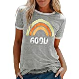 Lazzboy Women T-Shirt Good Rainbow Beach Print Tops Ladies Slouch Blouse(8,Grey-Rainbow)