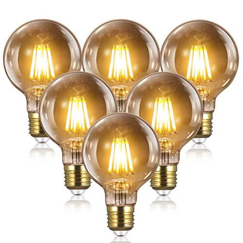 Edison Vintage Glühbirne E27 LED - 8W(Gleichwertig 80W Glühfadenlampe)1000LM/2700K Für Haus Bar Usw, 6PCS YUNLIGHTS Dimmbar G80 Glühbirne Edison E27 LED Vintage|Dekorative Retro Glühbirne E27 Warmweiß