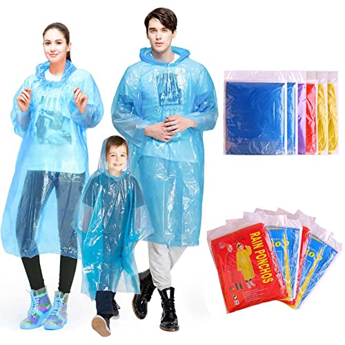 INNOCHEER Rain Ponchos Pack of 12, Disposable Poncho for Kids and Adults Family
