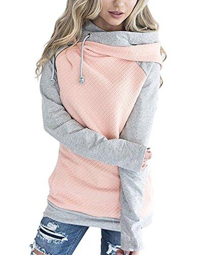 ShallGood Damen Gestreift Pulli Hoodies Pullover Langarm Sweatshirt Kapuzenpulli Top Jacke Gitter Rosa DE 44