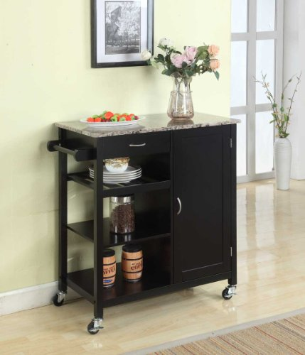 King's Brand Black Finish Wood & Marble Finish Top Kitchen Storage Cabinet Cart