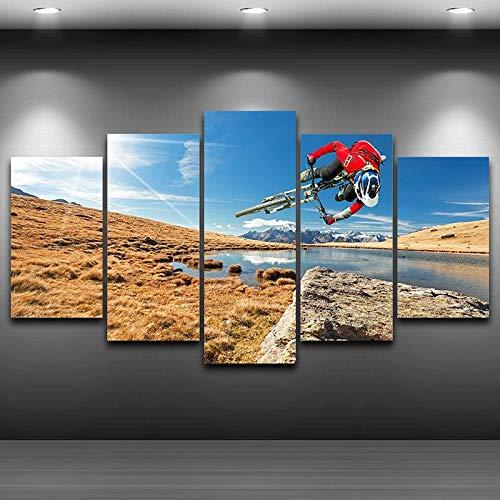 BXZGDJY Modulare Wandkunst Bilder Leinwand Hd Gedruckte Malerei 5 Panel Extremsport Mountainbike Poster Modern Home Decor 200X100CM Bild Bilder auf Leinwand 5 teilig Poster für Home Wohnzimmer Büro