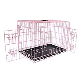 Greenbay Dog Puppy Cage Pet Crate Training Travel Carrier 2 Doors Metal Folding 42″ Pink