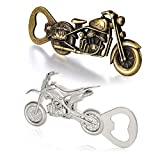 2 Pack Vintage Motorcycle Bottle Opener Cool Beer Corkscrew Stylish Bottle Opener Gifts for Birthday Christmas Dad Boyfriend Valentine's Day Gift ( Bronze Silver )