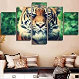 5 pinturas de lienzo HD Wall Art Canvas Poster Kids Room Calligraphy 5 set Animal Tiger Fashion Style Decoración del hogar Modular Picture Prints Painting 20x35 20x45 20x55cm
