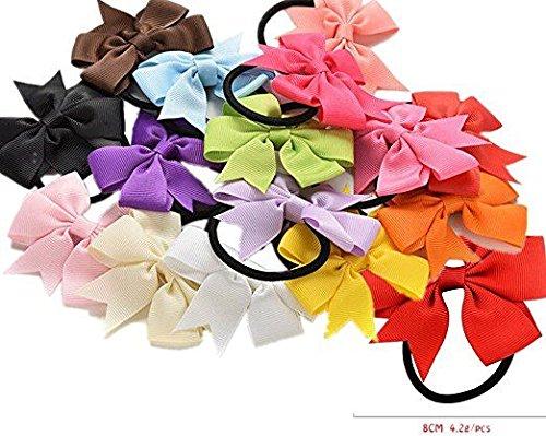 10pièces de bandes cheveux élastiques à ruban pour enfants Attache en caoutchouc queue de cheval Chignon en tissu fleuri enfants Accessoires cheveux bébés