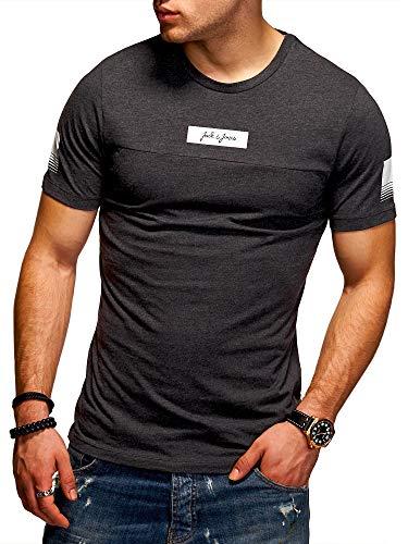 Jack & Jones T-Shirt Homme Col Rond Imprimé Manches Courtes Tendance Streetwear (M, Dark Grey Melange)