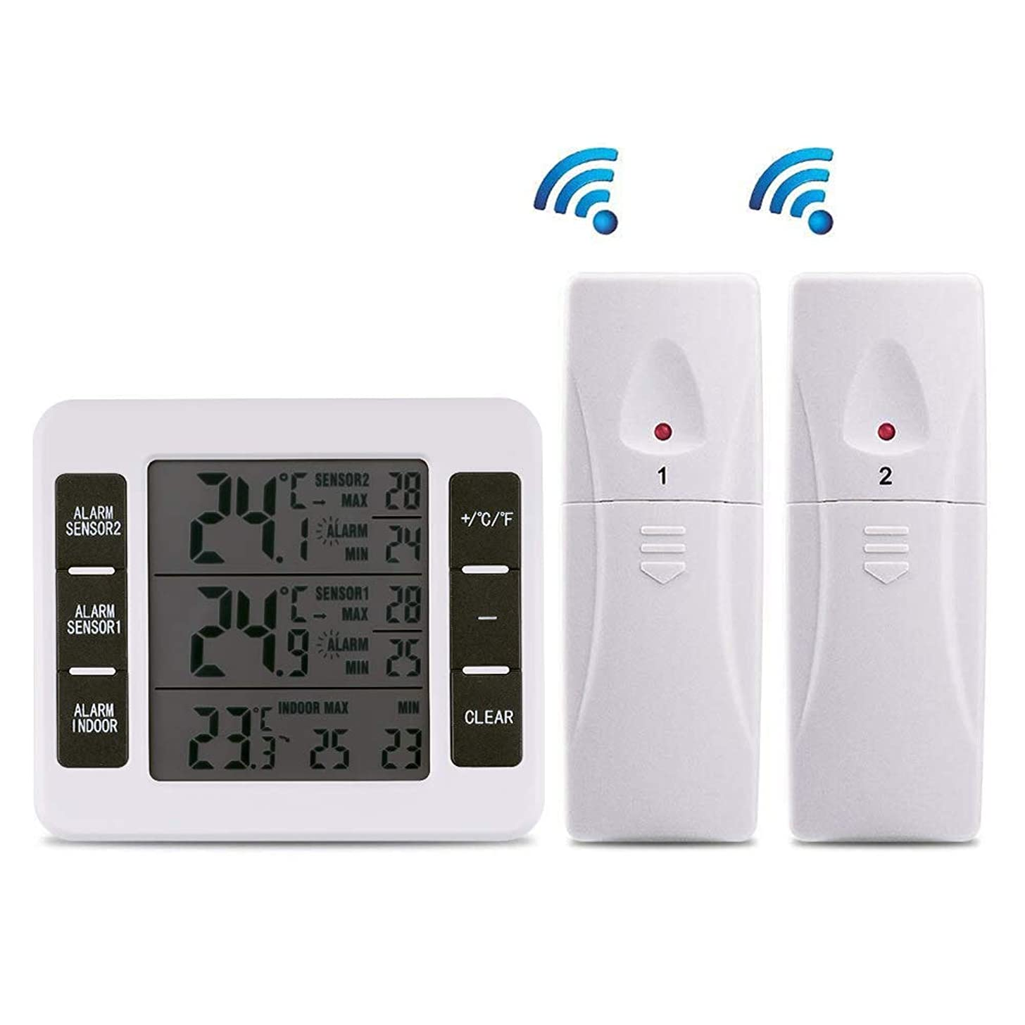 【Upgraded Version】Esnow Refrigerator Thermometer Wireless Digital Freezer Thermometer Digital Sensor with 2PCS Sensors Temperature Monitor and Audible Alarm for Indoor / Outdoor (Battery not Included)