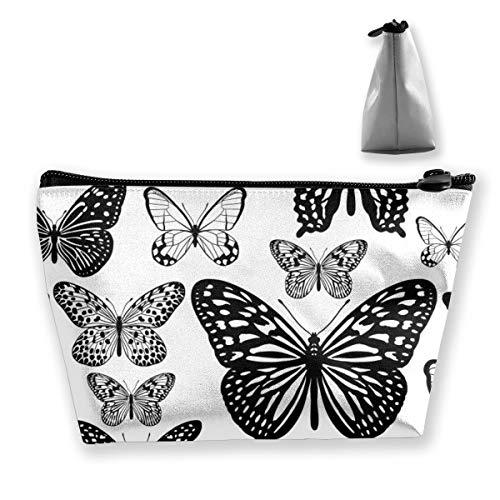 Multi-Functional Print Trapezoidal Storage Bag for Female Tropical Butterflies Black White Seamless Pattern