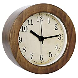 3 Inch Small Retro Analog Wooden Alarm Clock/Desk Clock with Night Light, Round Non-Ticking Battery Operated Silent Quartz Gift Clock, Decorative for Desk&Bedroom&Living Room,Dark