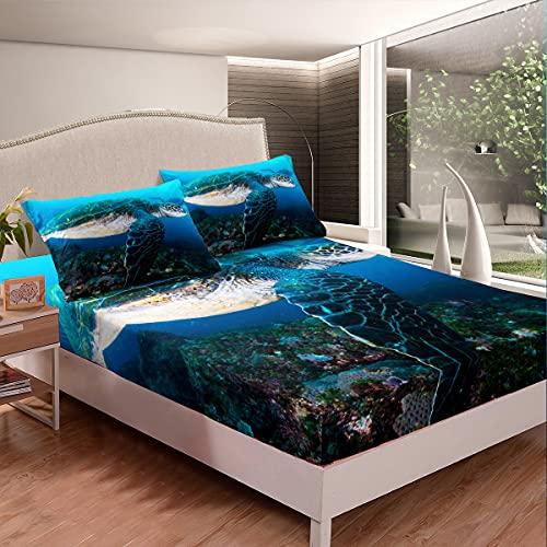Loussiesd Juego de cama de tortuga marina para niñas y niños 3D reptiles sábana ajustable Ocean Marine juego de sábanas de cama Diver Personality cama cama tamaño King 3 piezas