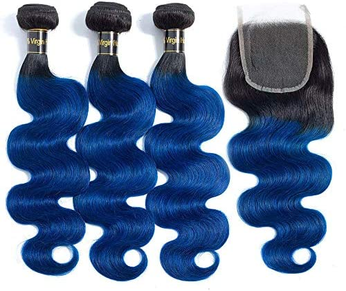 12A Ombre Brazilian Hair Bundles with Closure 20 18 16 with 14 free part Ombre Human Hair Body product image