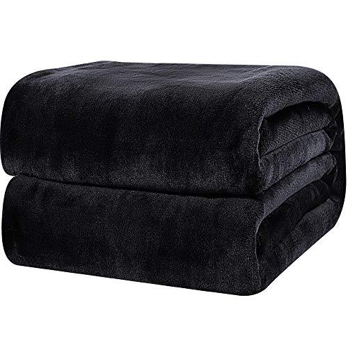 PiccoCasa Tagesdecke Kuscheldecke Bett Sofa 350GSM Fleecedecke als Schlafdecke, Sofadecke, Couchdecke Weich&Warm aus Mikrofaser für Couch Schlaf Reisen usw. Schwarz 130x150cm
