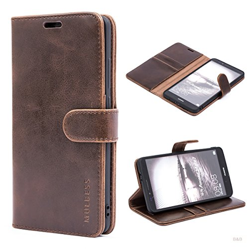 Mulbess Handyhülle für Huawei Ascend Mate 7 Hülle Leder, Handy Klapphülle Schutzhülle Handytasche für Huawei Ascend Mate 7 Tasche, Vintage Braun