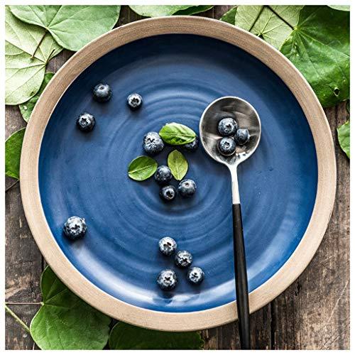 YYF Salade Céramique/Snack/Fruit/Plat / - Assiette Déjeuner/Western/Dîner 9.5 pouces de diamètre (Color : Blue)