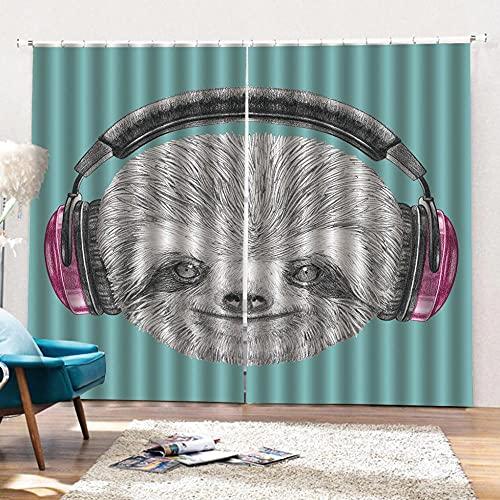 Cortinas Opacas Fruncidas Telas Termicas Aislantes Frio Calor Ruido Luz Rayos UV para Salon y Dormitorio Conjunto de 2 Piezas 140 x 175cm Mono con Auriculares