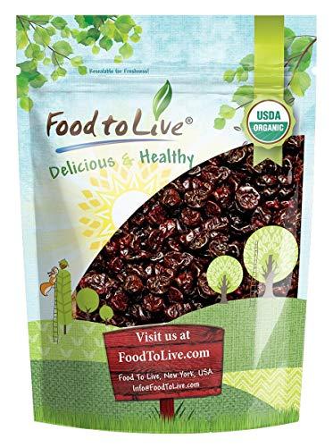 Organic Dried Tart Cherries, 2 Pounds — Lightly Sweetened, Pitted, Non-GMO, Kosher, Unsulfured, Sour, Bulk