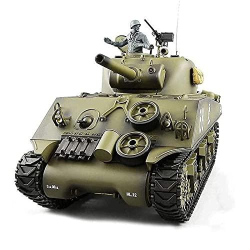 RC Panzermodell, 2.4GHz RC-Tank-Modell, 1/16 Maßstab Modell US-Militär M4A3-Tank, elektrischer RC-Tank-Metallspur simulierter Sound Infrarot-Start Militärkinder Erwachsene & Kinder Geschenke