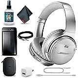 Bose QuietComfort 35 Series II Wireless Noise-Canceling Headphones (Silver) + Power Bank + Headphone Cleaner + USB Adapter + Headphone Extension Cable + MicroFiberCloth - Advanced Bundle (Renewed)