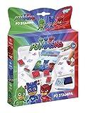 PJ Masks Stempel- und Mal-Set mit 6 Motiv-Stempeln der Helden Catboy, Owlette und Gekko, Stempelkissen lila, Malblock und 5 Buntstiften -
