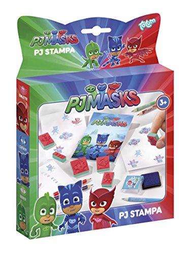 PJ Masks Stempel- und Mal-Set mit 6 Motiv-Stempeln der Helden Catboy, Owlette und Gekko, Stempelkissen lila, Malblock und 5 Buntstiften – TM Essentials 320017