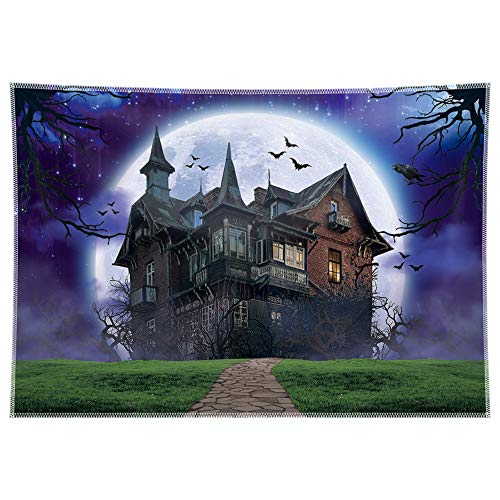 Allenjoy 7x5ft Durable/Soft Fabric Halloween Backdrop Haunted Ghost Hunt Adventure House Moon Bats Photography Background Horror Nights Decoration