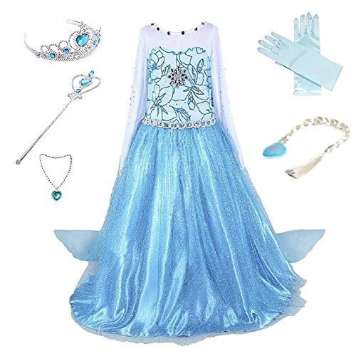 Anbelarui Prinzessin Kleid Mädchen Langes Festliches Karneval Kinder Glanz Kleider Weihnachten Verkleidung Karneval Partei Kostüm Outfit Halloween Fest, Blau, 120