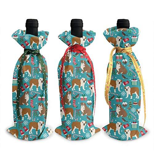 3 bolsas para botellas de vino de Navidad, diseño de galgos, color verde