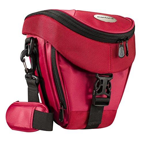 Mantona Colt DSLR Kamera Tasche für Spiegelreflex, SLR, Kompaktkamera, Systemkamera, Schultertasche Umhängetasche mit Platz für Zubehör, wasserdicht, rot