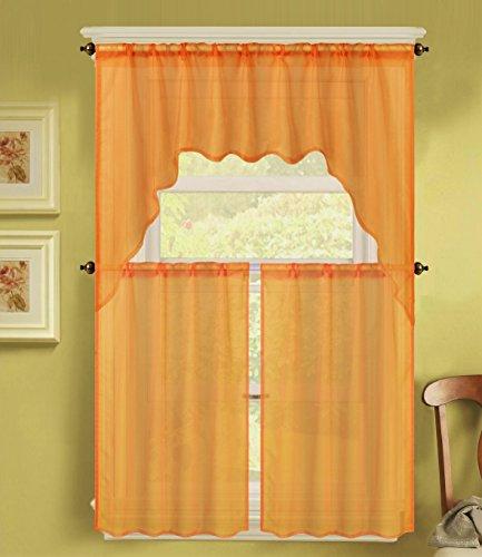 GorgeousHomeLinen (K66) 3 Piece Voile Rod Pocket Window Kitchen Sheer Curtain Set 2 Tier Panels & 1 Swag Valance, Various Solid Colors (Orange)