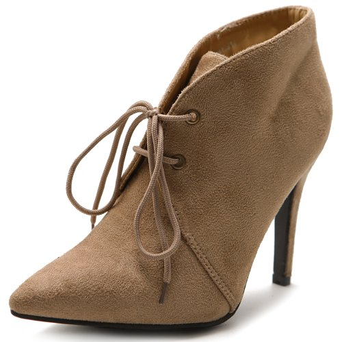 Ollio Women's High Heel Ankle Shoe Lace Up Faux Suede Multi Color Boot ZM10914(8.5 B(M) US, Sand)