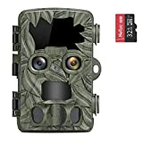 COOLIFE Fototrappola con Dual-Lens 4K 20MP Fotocamera Caccia Visione Notturna Fino a 25m,velocità di Trigger 0,1 s Videocamera da Caccia con Regolazione Automatica della Luminosità IR