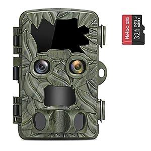 【Diseño único de cámara dual】 El diseño de doble lente del cámaras de caza H8201 se deriva de la nueva tecnología 2021.La lente de alta definición de 8 megapíxeles funciona durante el día y la lente de visión nocturna con luz de estrellas de alta sen...