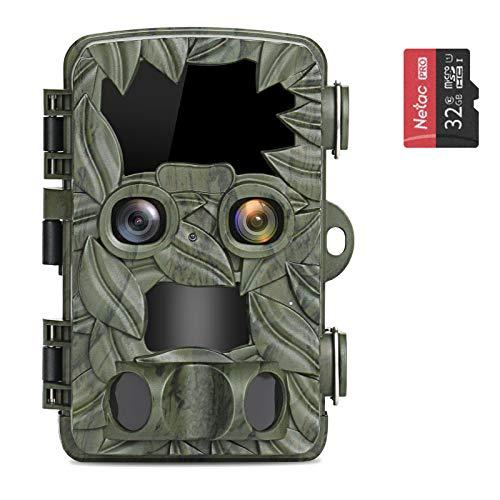 COOLIFE Cámaras de Caza con Dual-Lens 4K 20MP HD Fototrampeo Distancia de Disparo de hasta 25 m Velocidad de Disparo 0.1s Cámara de Caza Nocturna 44 pcs IR Leds Admite hasta 512G