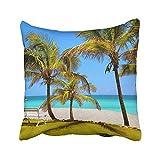 ghjkuyt412 Custom Blue Cuba Beach in Varadero Bench The Sand Colorful Florida South Hotel Resort Pillowcase Pillow Cushion