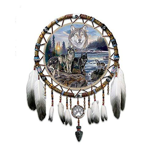 Loderqu Full Square Diamond Painting Wolf Dream Catchers Cross Stitch 5D DIY Needleworks Resin Diamond Embroidery Mosaic Handicraft Gift Handmade cross stitch (Size : Round drill 15x15cm)