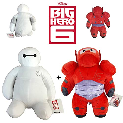 PACK 2 PELUCHES BAYMAX BIG HERO-6 30CM QUALITÉ SUPER SOFT (PERSONNAGE BLANC ET ROUGE)