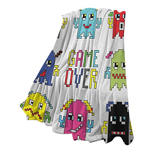 Anmaseven 90s Soft Flannel Blanket Pattern Decorative Pixel Robot Emoticons with Game Over Sign Inspired by 90s Computer Games Fun Artprint Yellow Red 54' W x 84' L