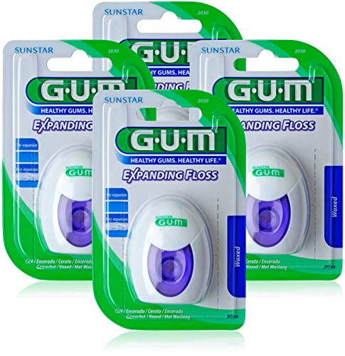 GUM EXPANDING FLOSS Zahnseide/Flauscht während der Verwendung auf/Auch für enge Zahnzwischenräume geeignet/Leicht gewachst/Sanft zum Zahnfleisch / 30m / 4 Stück