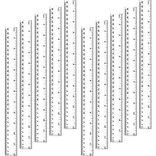 Chuangdi 20 Pieces 12 Inch Plastic Rulers, Straight Ruler Office Rulers School Rulers (Clear)