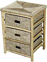 Heather Ann Creations 3-Drawer Bamboo Open Frame Cabinet with Seagrass Weave, 25.9-Inch, Natural