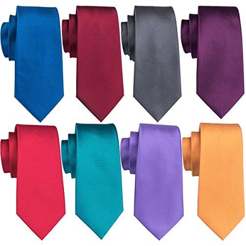 Wedding Wine Burgundy Tie Solid Skinny Ties For Men Slim Silk Necktie and Pocket Square Sets (0802-06)