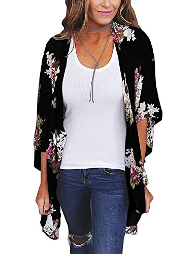 Zexxxy Mujer 3/4 Manga Floral Chiffon Casual Loose Kimono Cardigan Capes Negro, Pequeño