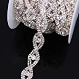 Crystal Metal Chain Trim with Rhinestones for Wedding Waist Belts Bridal Hair Jewelry Shoes Bags Dresses (Silver)