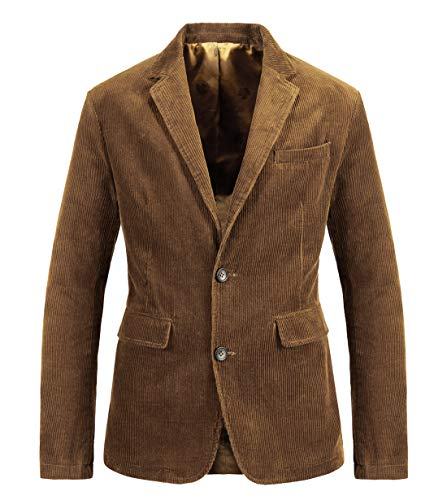 chouyatou Men's Vintage Casual Work Wear Corduroy Suit Blazer Jacket Sport Coat (X-Large, Brown)